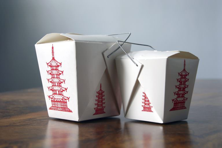 Two Chinese takeout boxes.