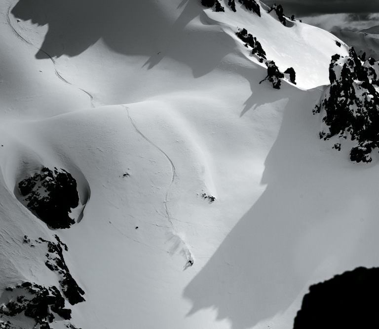Aerial view of skier on mountain.