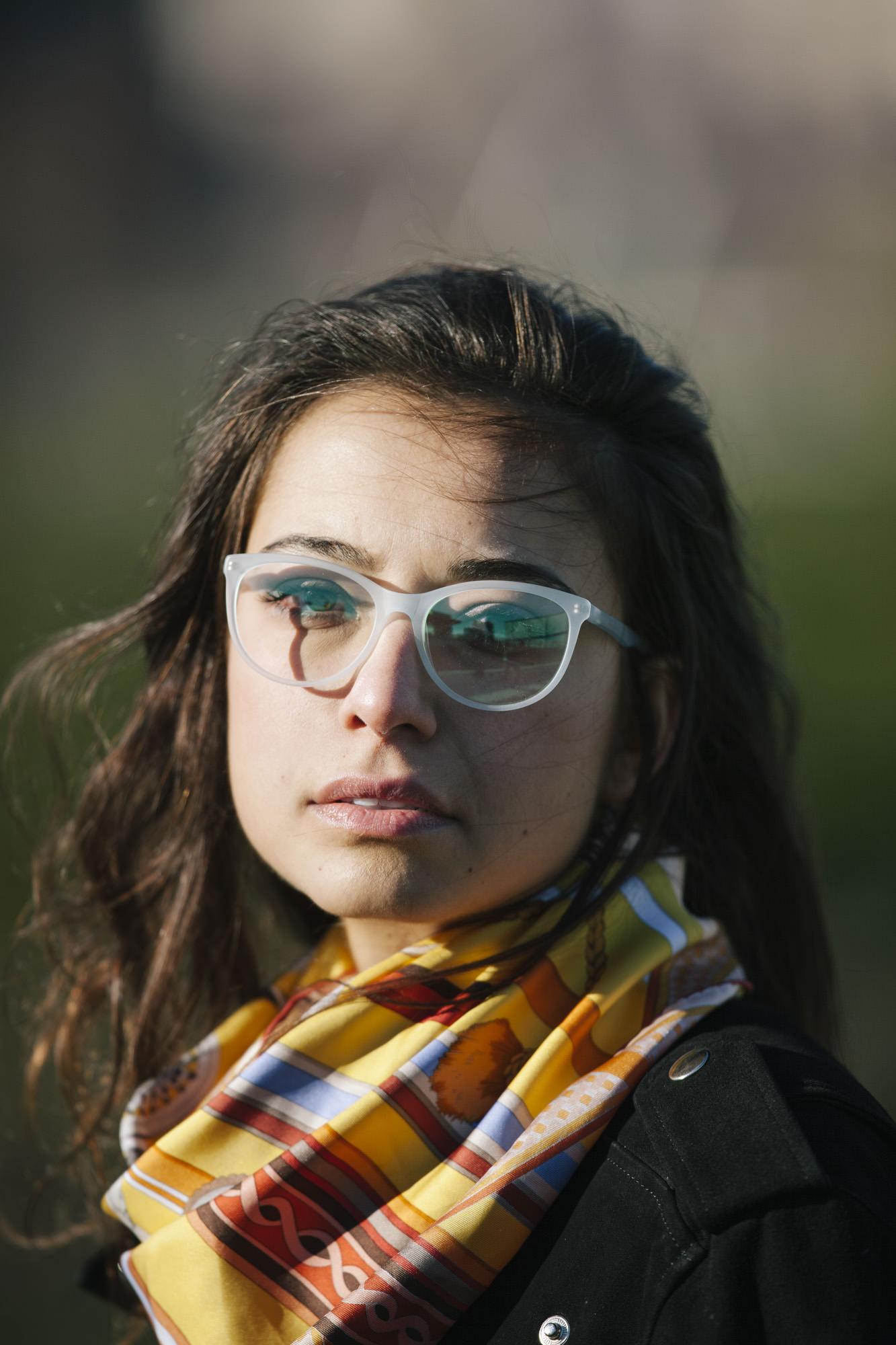 Woman wearing O&X NEW YORK Jasmine acetate eyeglass frames in Lilac.