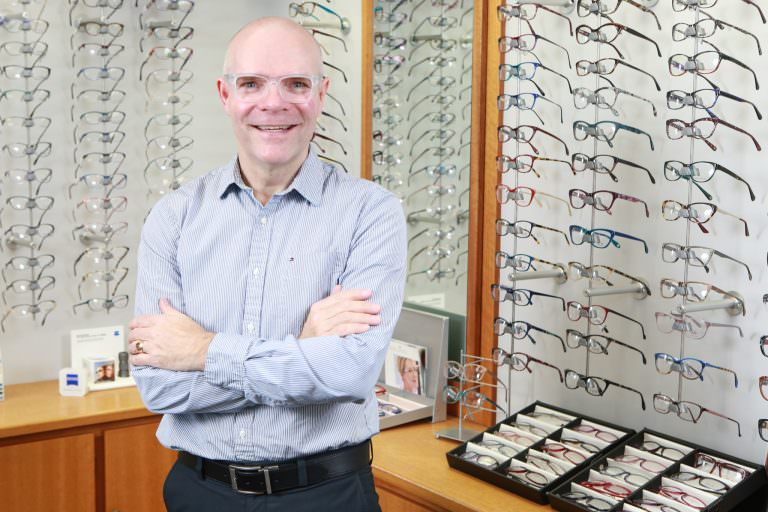 Klein Optical optician Daniel Klein in the showroom of his store.