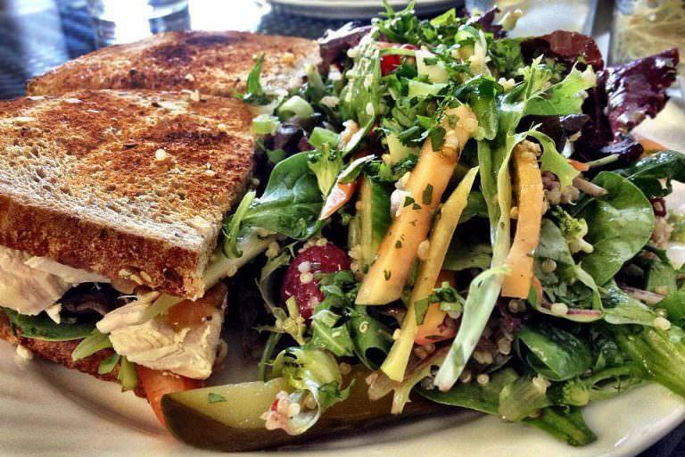 Chicken & Avocado Club with House Salad by Goodness Gracious Café.