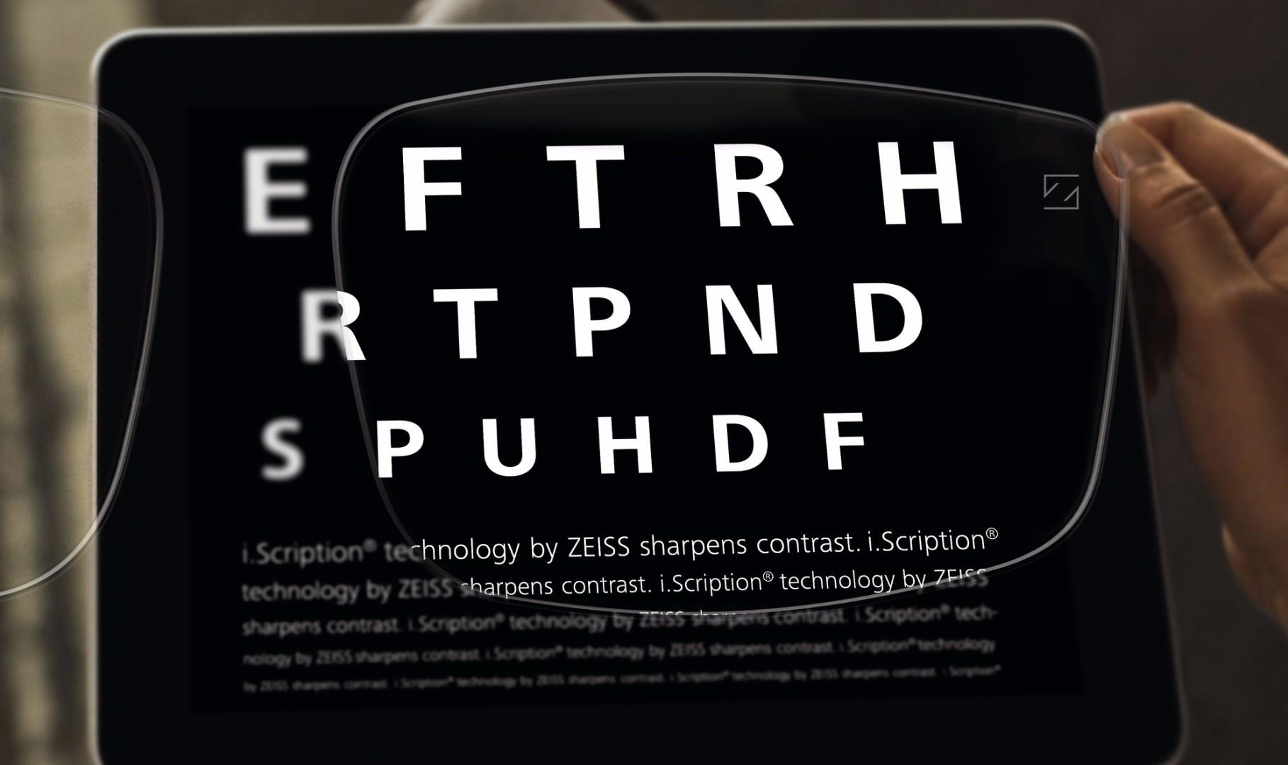 i.Scription lenses enabling crisper vision with improved contrast for reading.